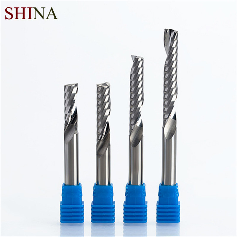 SHINA 1pc 8mm Single Flute Spiral Cutter 3A TOP Qualit CNC Router Bits For Wood Acrylic PVC MDF End Mill Carbide Milling Cutters huhao 1pc 6mm 3 flute spiral cutter router bits for wood cnc end mill carbide milling cutter tugster steel wood milling cutter