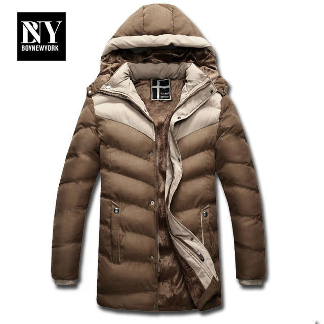 BNY Thick Warm Winter Jacket Men Overc Jackets Detachable Hat High Collar Outerwearoat Fluff Lining Down Coats Parka Casual