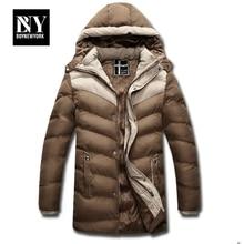 BNY Thick Warm Winter Jacket Men Overc Jackets Detachable Hat High Collar Outerwearoat Fluff Lining Down Coats Parka Casual