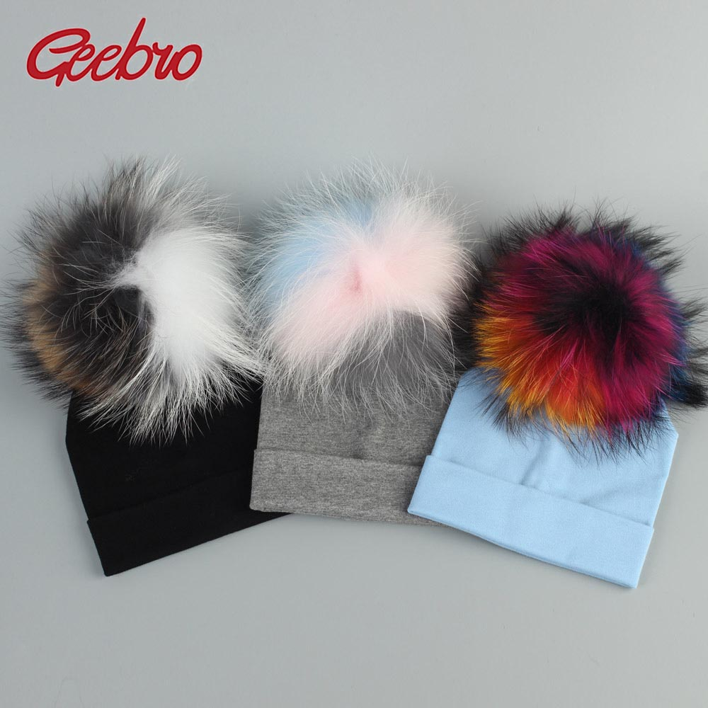 Geebro Baby Cotton   Beanies   Hats With Real Fur Raccoon Pompom For Newborn Girls Boys Kids Warm Plain Cotton   Skullies     Beanie   Hat
