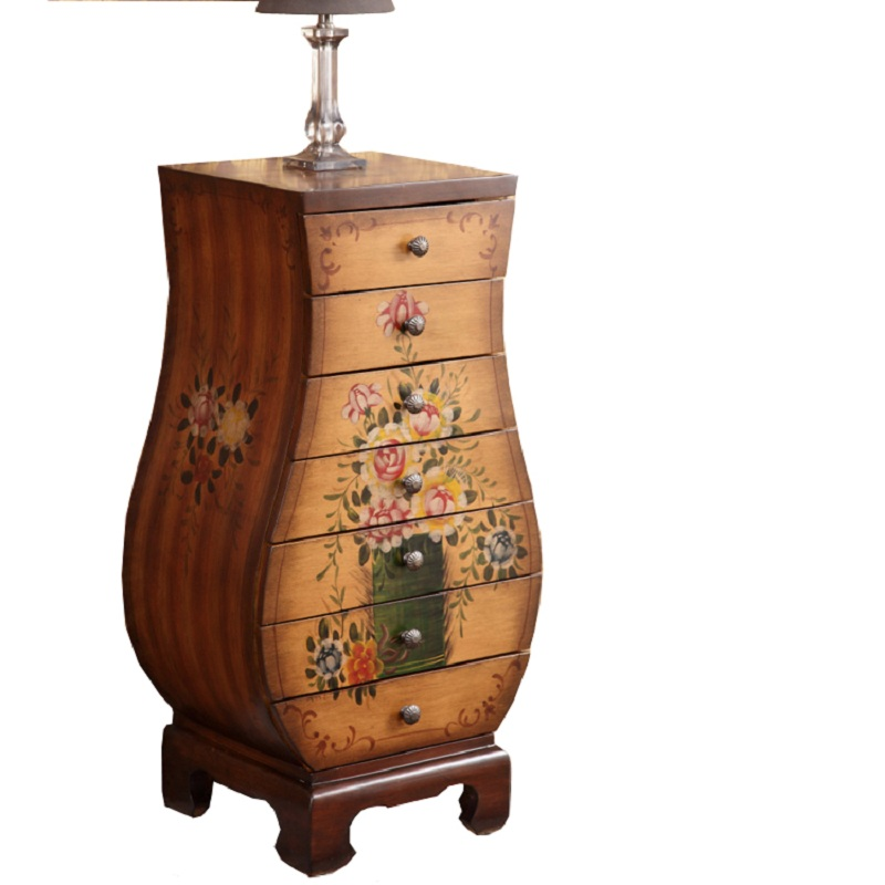 Continental Dipper American Xuan modern retro decoration seven bucket side cabinet Korean hand painted vase cabinet