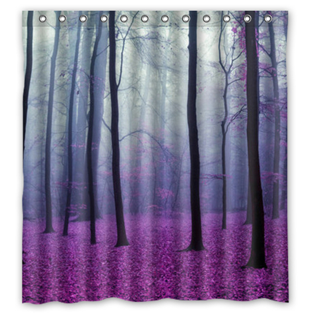 Beautiful Purple Art Forest Trees Custom Design Bath Curtain Waterproof Fabric Shower Curtains 48x72 60x72 66x72 Inches