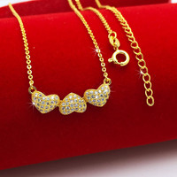 Shiny CZ Diamond Heart To Heart Pendant Necklace For Girl Women 18k Yellow Gold Filled Beautiful
