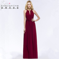 New Arrival Burgundy Chiffon Long Evening Dress 2018 Sexy Halter Neck Evening Gowns with Sashes Vestido do festa Longo