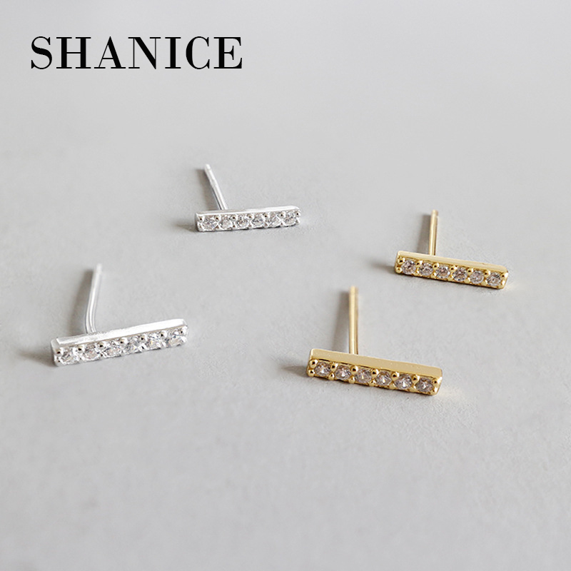 SHANICE 925 Sterling Silver Small Bar AAAA CZ Crystal Stud Earrings For Women Girls Kids Piercing Jewelry Orecchini Aros Aretes