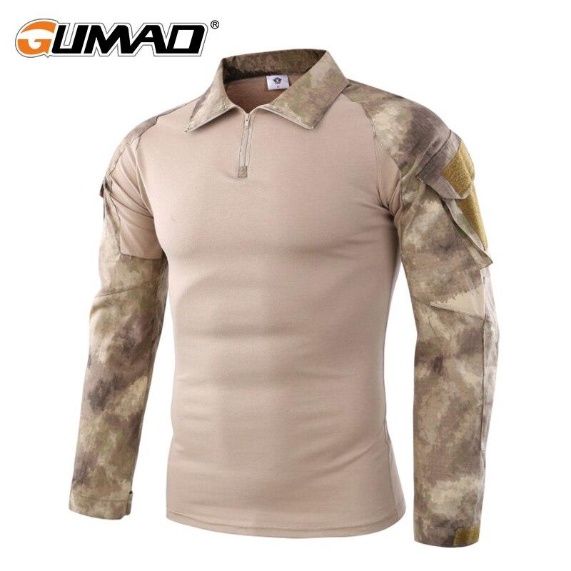 Camouflage Militärische Taktische Kampf Langarm Hemd Kraft Multicam Camo Armee Männer T-Shirt Wandern Jagd Klettern Schießen