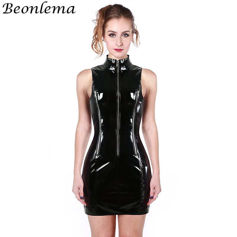 BEONLEMA Black Wetlook PVC Corsage Female High Neck   Corset   Sexy Zipper Bondage   Corset   Dress Langerie Feminina Bodysuit Clubwear