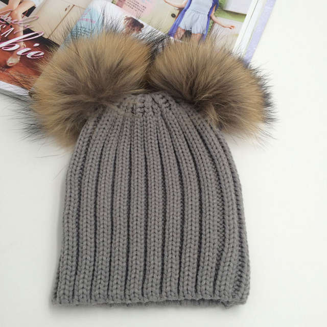 0eafeb9d Fashion Winter Hat Female Skullies Beanies Winter Cap 2 Real Fur Pom Pom  Bonnet Femme Woman