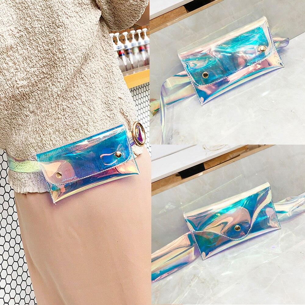 Women Iridescent Holographic Fanny Pack Punk PVC Laser Purse One Shoulder Waist Chest Bag Sport Hip Bag New U3