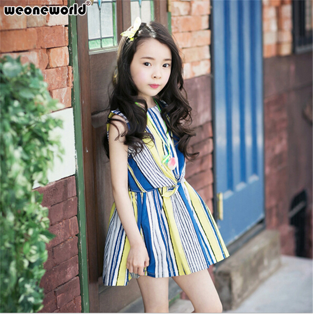 b52e594a4ff WEONEWORLD Girls Dresses Summer 2018 Clothes Selling Baby Children Stripes  Clothes Girls Clothing Set Striped Kids Easter Dress-in Dresses from Mother  ...