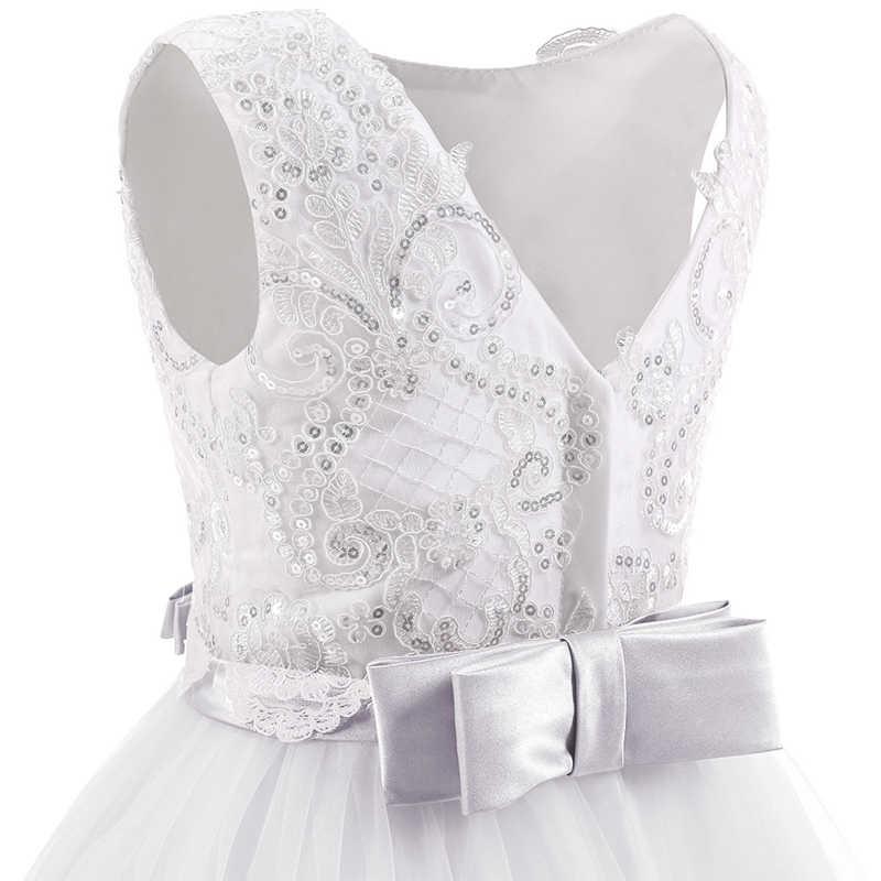 Элегантное Белое длинное платье из тюля со шлейфом; Детские платья подружки невесты на свадьбу для девочек; вечерние платья для первого причастия; бальное платье принцессы