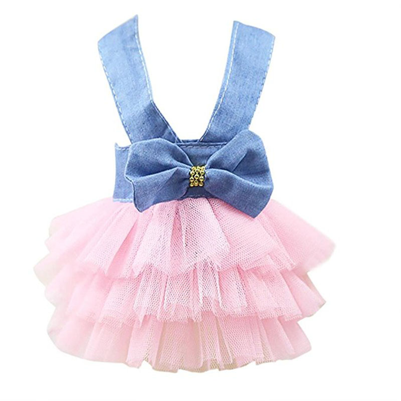 Pet Puppy Dog Cat Clothes Sexy Denim Dress Bow Tutu Dresses For Cats Pup Braces Skirt For Kitten Pet Party Apparel For Summer