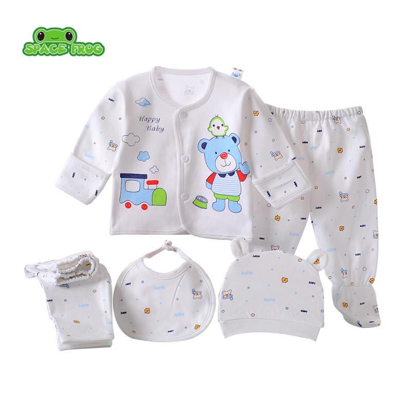 (5pcs/set)Newborn Baby set 0-3M Clothing Set Boy/Girl baby Clothes  100% Cotton Cartoon Underwear B-003 newborn baby boy girl 5 pcs clothing set cotton cartoon monk tops pants bib hats infant clothes 0 3 months hight quality