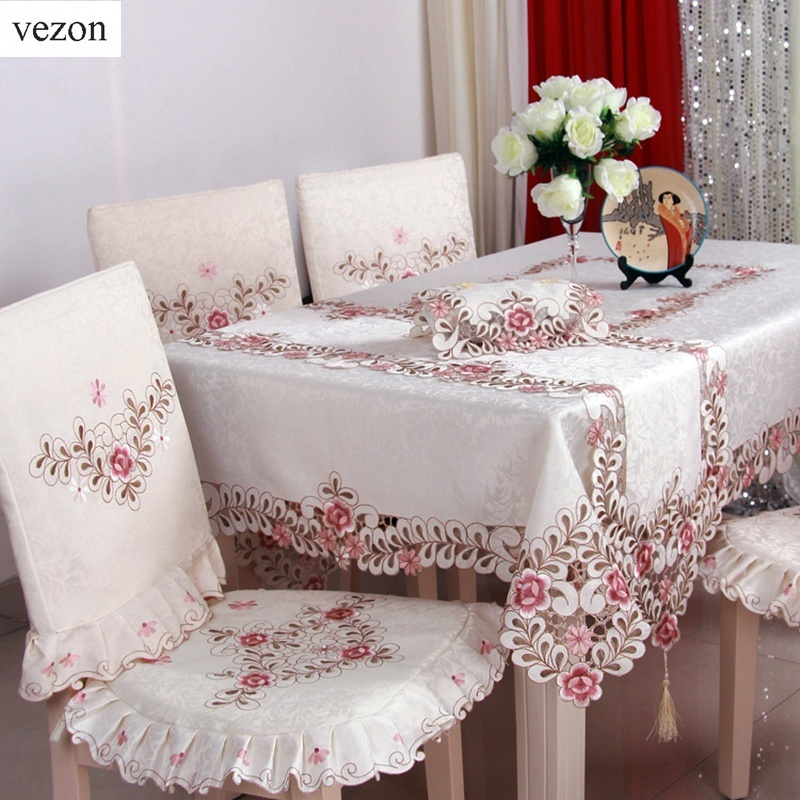 Vezon Hot Sale Elegant Satin Jacquard Embroidery Floral Tablecloths Handmade Cutwork Embroidered Table Cloth Cover Overlays