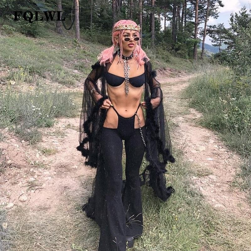 FQLWL Sexy   Wide     Leg     Pants   Woman Hollow Out Bodycon Flare   Pants   Female High Waist Women   Pants   Autumn 2018 Broeken Woman Trousers