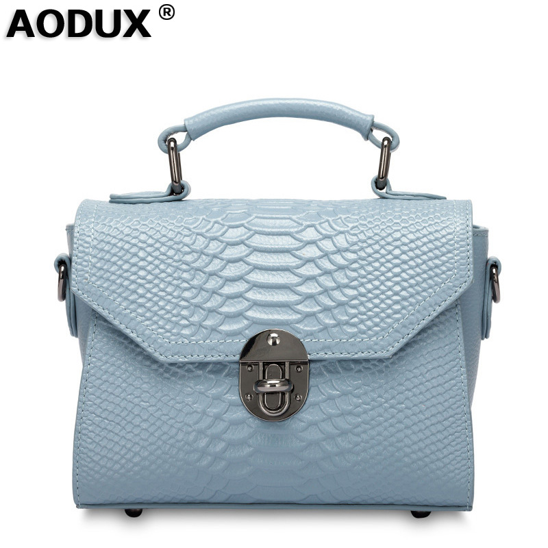 AODUX Women Small Genuine Leather Bags Female Luxury Famous Brands Handbag Real Leather CowhideTote Shoulder Messenger Bag Purse 100% genuine leather women bags luxury serpentine real leather women handbag new fashion messenger shoulder bag female totes 3