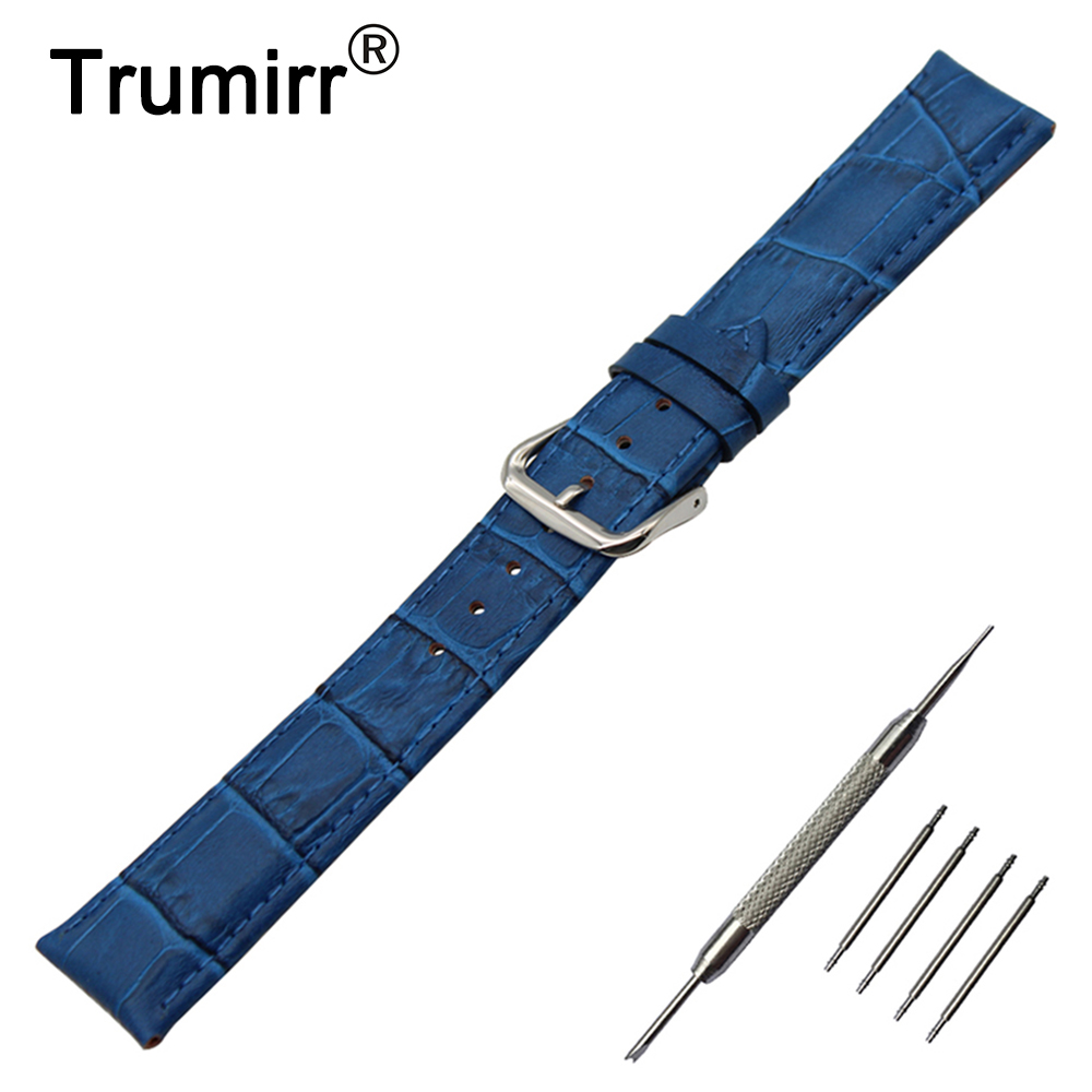 12/14/16/17/18/19/20/21/22/24mm Genuine Leather Watch Band for Cartier Tank Santos Calibre Steel Clasp Strap Wrist Belt Bracelet