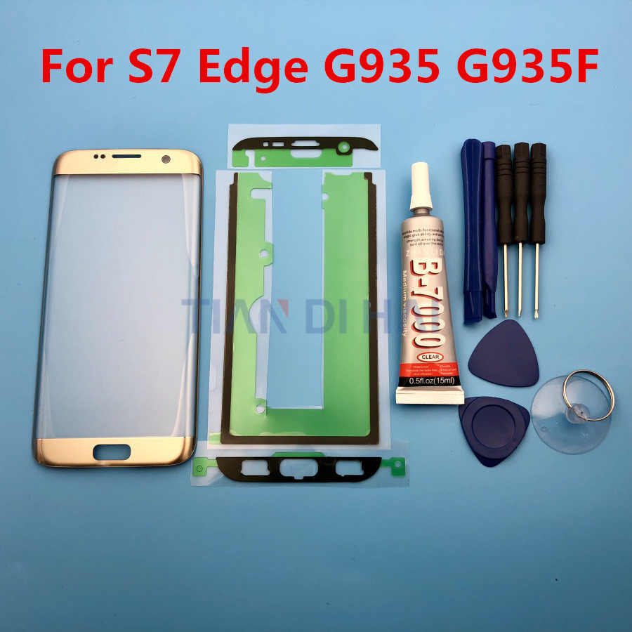 designer fashion d7f15 8d314 S7EDGE Front Outer Glass Lens Cover replacement For Samsung Galaxy S7 Edge  G935 G935F G935FD LCD glass & B-7000 Glue & Tools