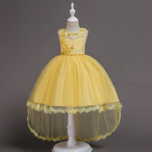High Quality Girls Dress 2019 Fashion Princess Dress Dark Blue kids Party Birthday Wedding Mesh Dresses Children tutu Clothing