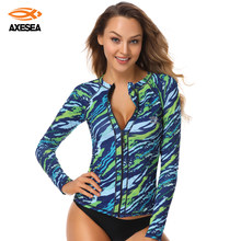 AXESEA Rashguard Women Long Sleeve Swimsuit Sun Protection Rash Guard Print Front Zipper Swimwear Crew Neck UPF50+ Surf Shirt(China)