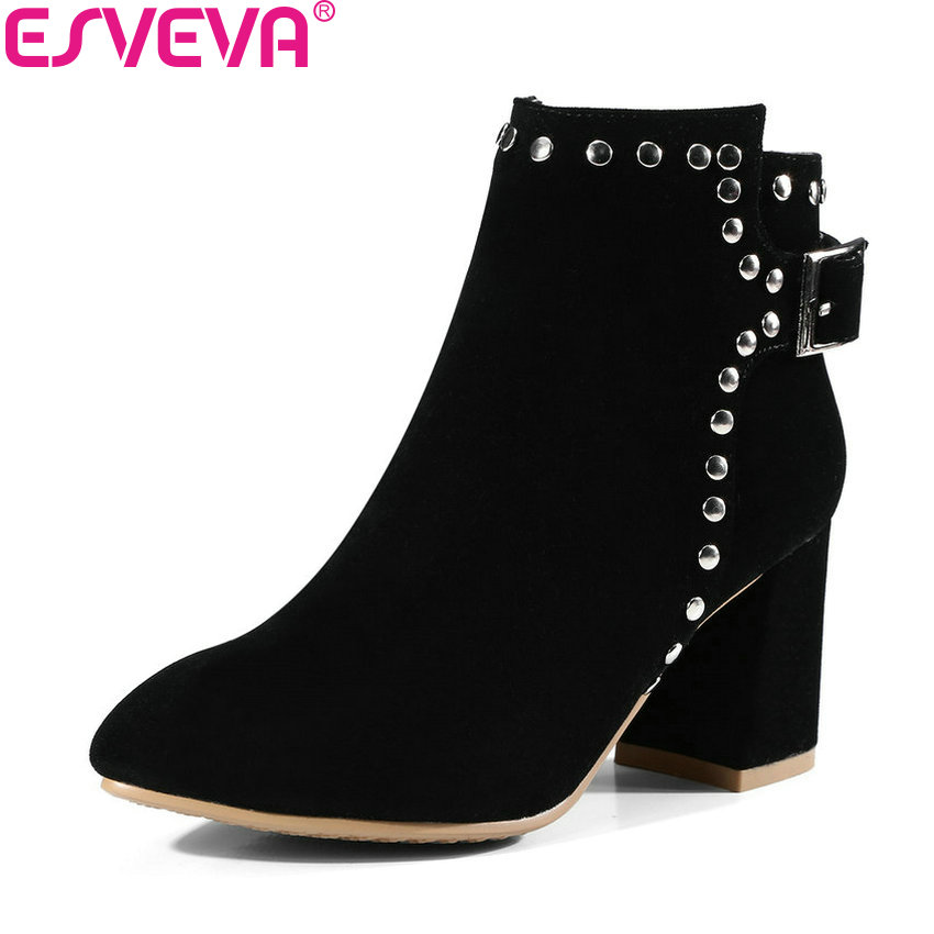 ESVEVA 2018 Women Boots Western Style Short Plush Buckle Ankle Boots Square High Heel Chunky Pointed Toe Ladies Shoes Size 34-42 esveva 2018 women boots zippers black short plush pu lining pointed toe square high heels ankle boots ladies shoes size 34 39 page 6