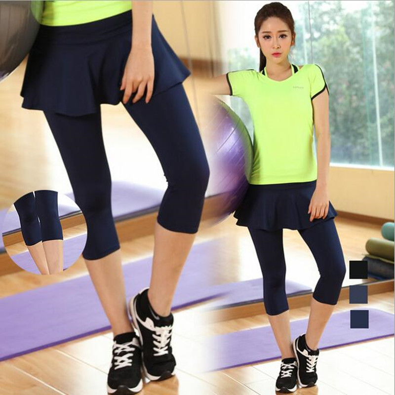 Pants Fitness Skirt Two-Piece Breathable Fashion Fake Mid Mid-Calf Divided Culottes Quick-Drying