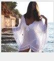 Fress доставка 2015 новый Сексуальный Женская Одежда для Пляжа Шифон Кружева Крючком Бикини Cover Up Рубашка