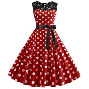Image 2 - 2019 Summer Women Lace Vintage Dress Red Polka Dot Swing Retro Robe Party Dresses 50s 60s Rockabilly Pin Up Dress Vestidos
