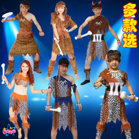 New Cospiay Halloween Native Costume Indian Leopard Print Savages Men And Women Dress Clothes And Skirt