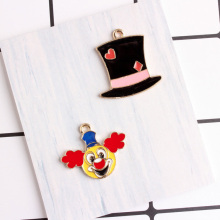 100pcs droll clown charms 22*27mm diy jewelry alloy gold color enamel 25*26mm Long hat charms pendant for bracelet CH0215