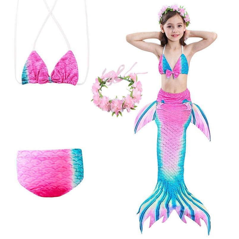 Mother & Kids Bright 4pcs Girls Mermaid Tail Swimwear Cosplay With Garlands Bikinis Set Kids Mermaid Tails Swimsuit Beach Swimming Costumes Clothes Elegant And Graceful