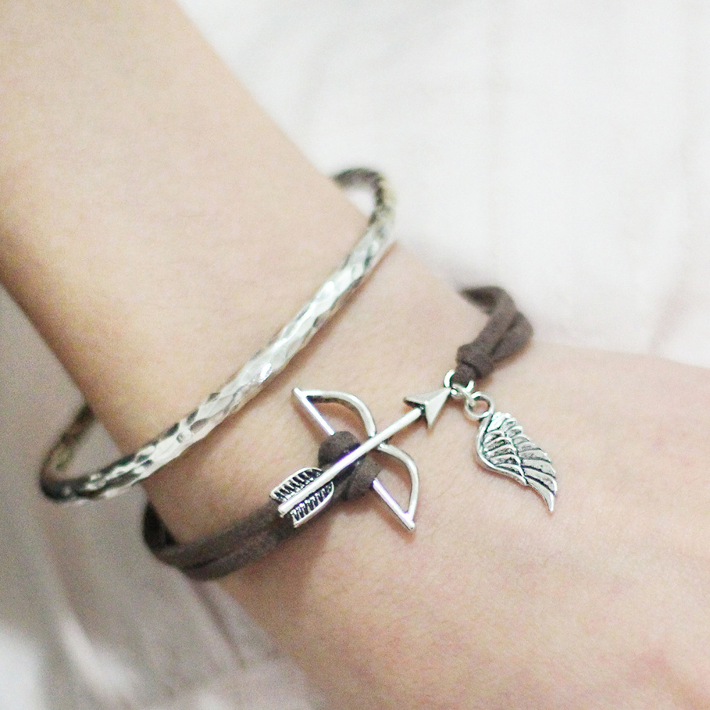 DoreenBeads Handmade Suede Velvet Bracelets Jewelry Silver Color Bow and Arrow Wing Hollow Connectors 16.5cm Long, 1 PC