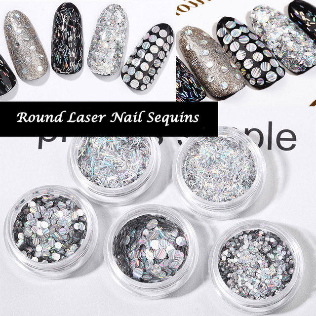 b76f3707ff US $0.82 35% OFF|2g/box Round Nail Laser Sequins Colorful Shiny Holo Nail  Glitters Paillette Acrylic Tips UV Gel Nails Art Decoration Accessories-in  ...