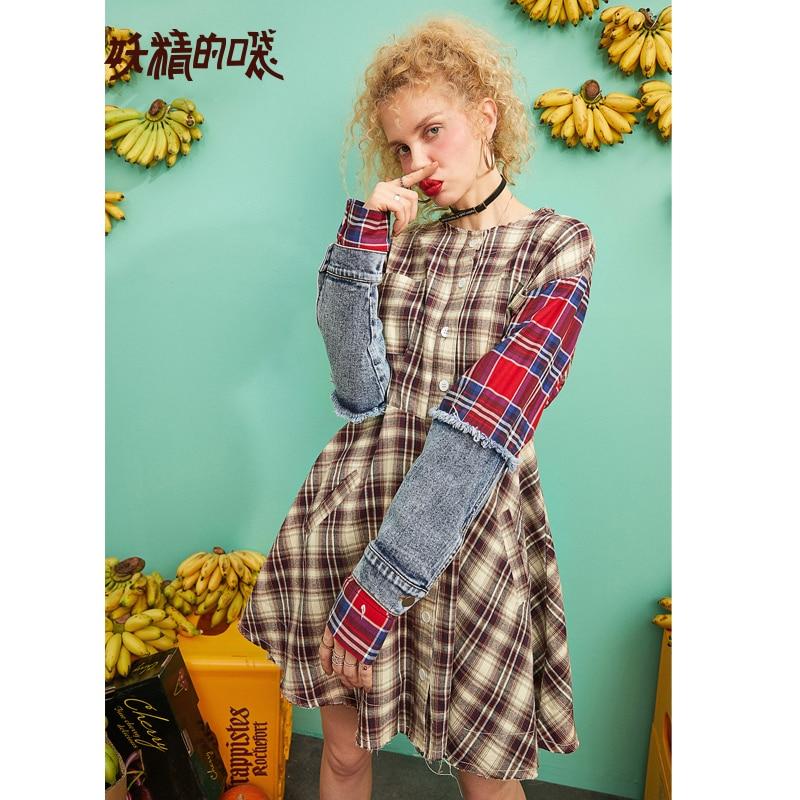 ELF SACK 2019 New Fashion Woman Dress Casual Plaid Full O Neck Women Dresses Denim Patchwork