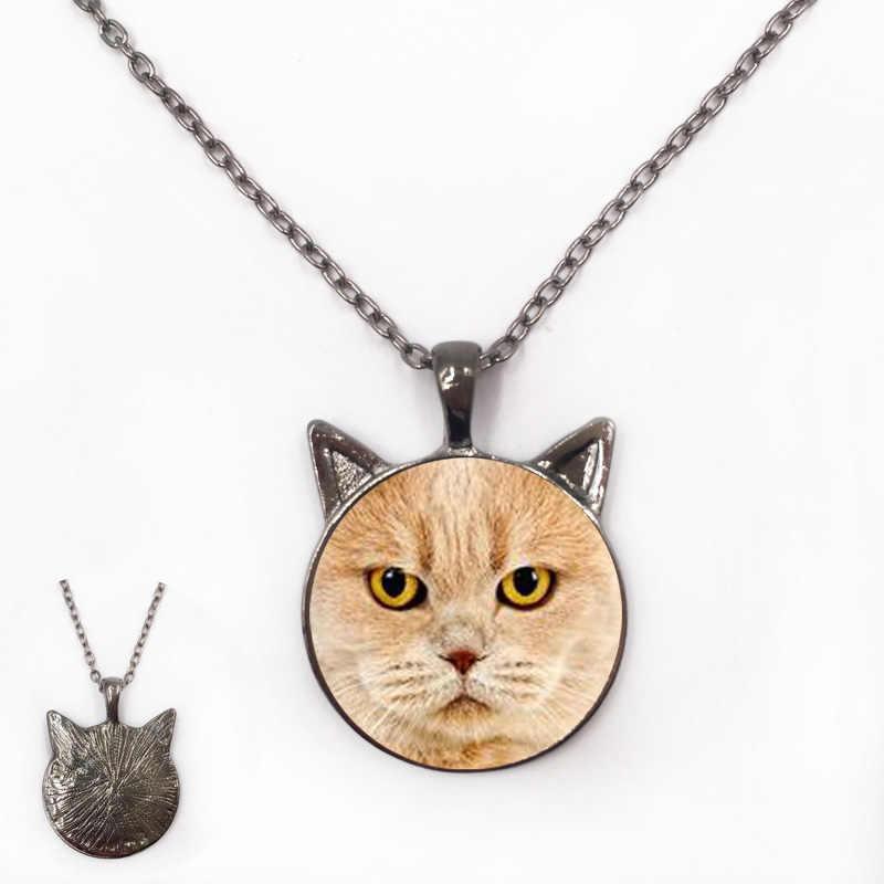 검은 귀 보석과 갈색 영국 shorthair 고양이 pedant 목걸이 애완 동물 애호가를위한 세 가지 금속 색상 진짜 고양이 모양
