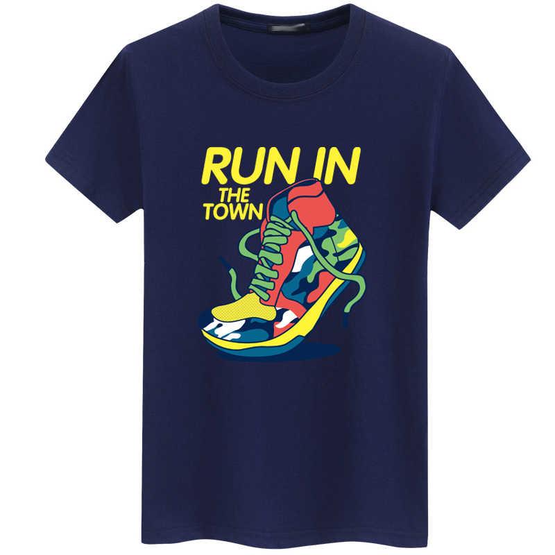 903bfea21480 T shirt Men  Women Fashion Run Shoes Printed hip hop Tops harajuku Short  Sleeve off white