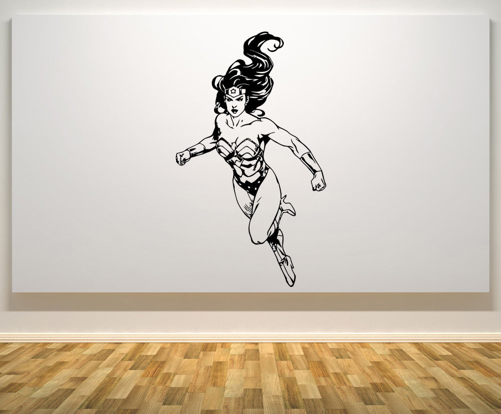 Wonder Woman Justice League Super Hero Bedroom Decal Wall Art Sticker Picture Os1724 Free Shipping
