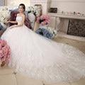 2016 Romantic Wedding Vestidos de Noiva Branco de Cristal Fino de Cetim Rendas Até Vestido De Noiva Vestido de Noiva Strapless Off The Shoulder