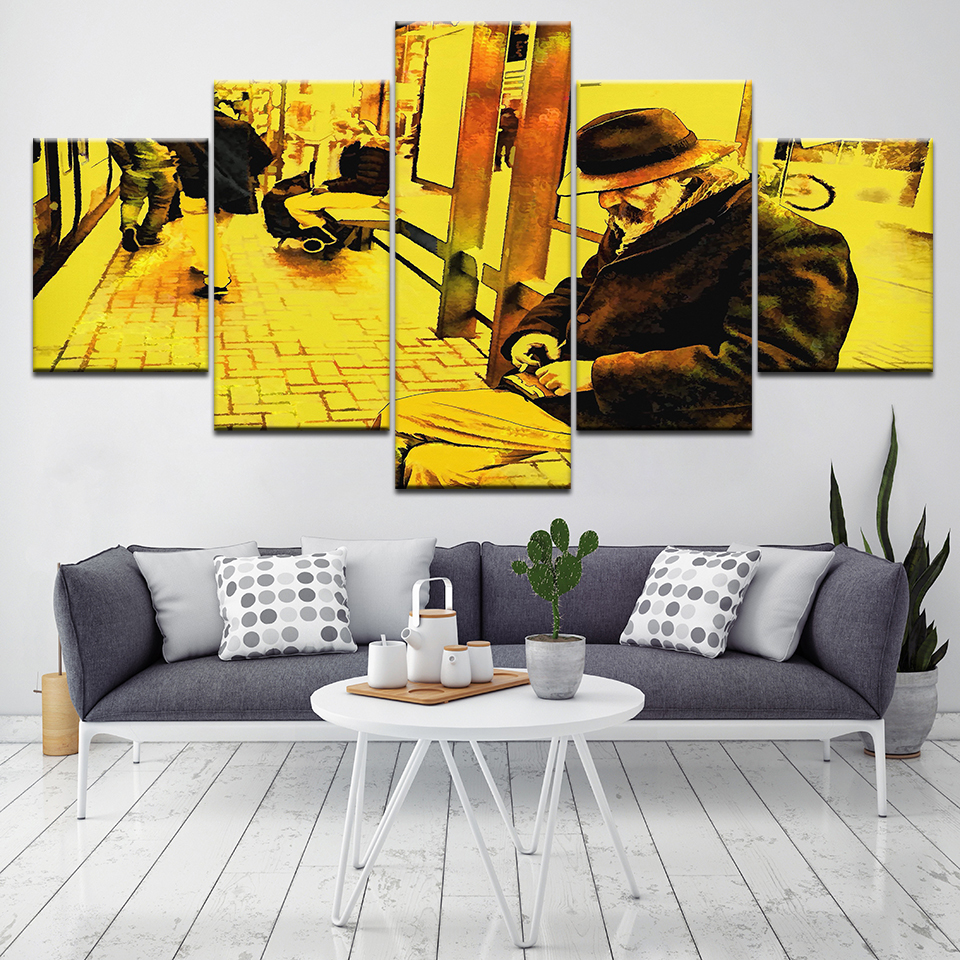 5 panel Pensive Old Man Canvas Set Decorative Wall Pictures Home Decor Paintings for Living Room Wall Abstract Wall Artwork