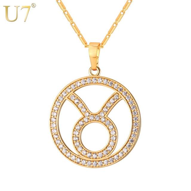 2559b2dd8191e7 U7 Taurus Zodiac Sign Necklace & Pendant Gold Color Cubic Zirconia Crystal  Constellations Jewelry Men/