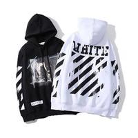 Men's Sweatshirt HipHop Print Loose OFF White Hoodies Baseball Uniform Harajuku Streetwear Leisure Splashing Ink Fashion Top
