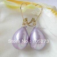 New Arriver Natural Shell Pearl Jewelry 14x18 5mm Purple Sea Shell Pearl Dangling Earrings 14K 20