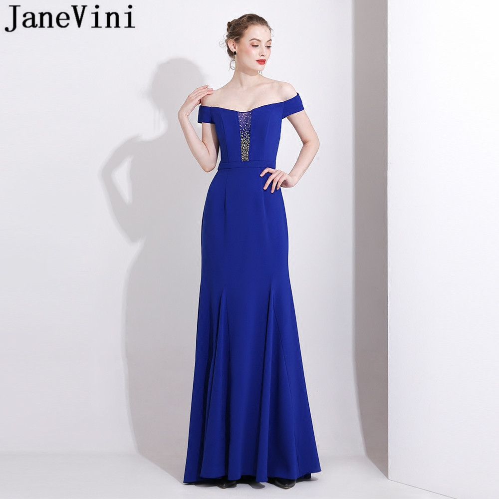 JaneVini Off Shoulder Royal Blue Evening Dress Long Party Dress Beaded Crystal Mermaid Prom Formal Gowns dluga sukienka 2019