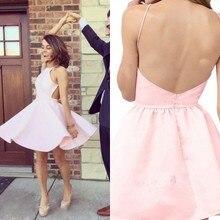 2017 A Line Satin Prom font b Dresses b font Scoop Spaghetti Straps Backless Pink Mini