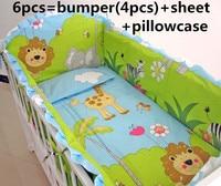 Promotion! 6/7PCS Lion Soft Baby Cot Bedding Set Bright colors Baby Bedding Set,duvet cover ,120*60/120*70cm