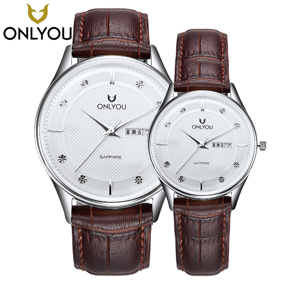ONLYOU Couple Watches For Lovers gift Luxury Brand Quartz Wrist Watches Diamond Calendar Waterproof Men Women leather Band Watch все цены