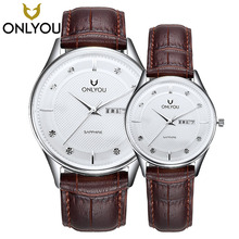 ONLYOU Couple Watches For Lovers gift Luxury Brand Quartz Wrist Watches Diamond Calendar Waterproof Men Women leather Band Watch