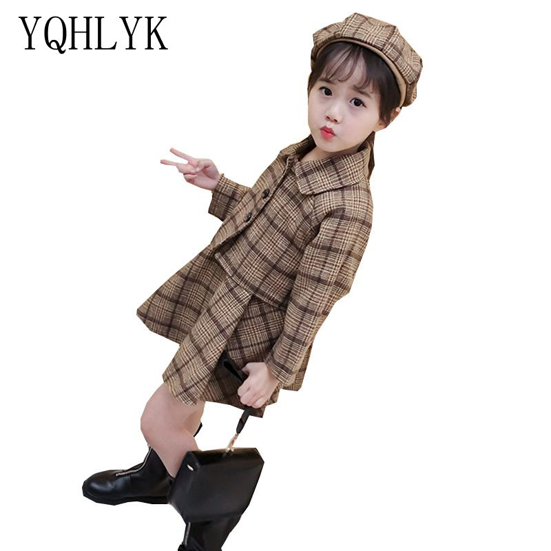 New Fashion Autumn Winter Girl Suit 2018 Children Woollen Coat + Hat + Vest Princess Dress Sweet Cute Kids Clothes 3PSC Set W73 2017 new fashion spring autumn girls two pieces suit children coat princess dress suit korean leisure sweet kids clothes dc129