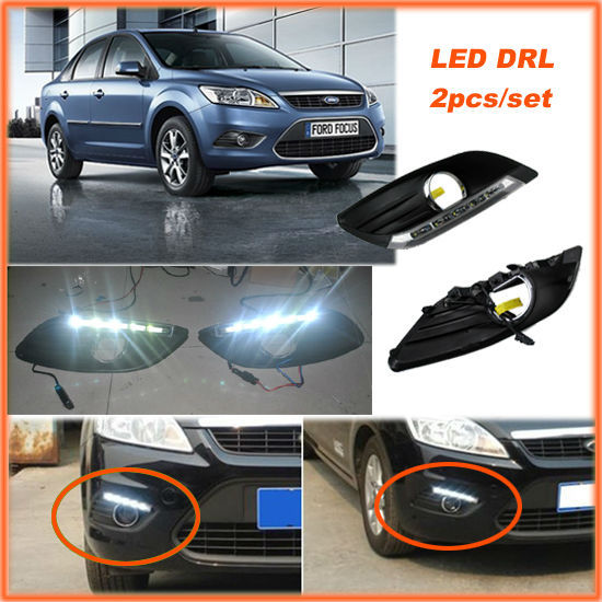 CAR-Specific Cold White LED DRL Daytime Running Lights Day Fog Lamp for Ford Focus Sedan 2009 2010 2011 2012 2013 2pcs per set drl daytime running lights for audi a4 b8 2009 2010 2011 2012 auto led day driving lamp with fog lamp hole free shipping