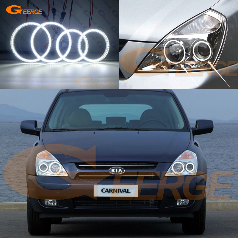 For Kia Carnival 2006 2007 2008 2009 2010 2011 2012 2013 2014 Excellent Ultra bright illumination smd led Angel Eyes kit DRL for honda cr v crv 2007 2008 2009 2010 2011 projector headlights excellent ultra bright smd led angel eyes halo ring kit
